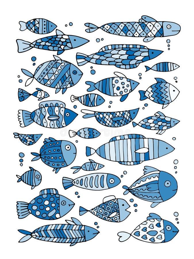Raccolta del pesce di arte, schizzo per la vostra progettazione illustrazione vettoriale