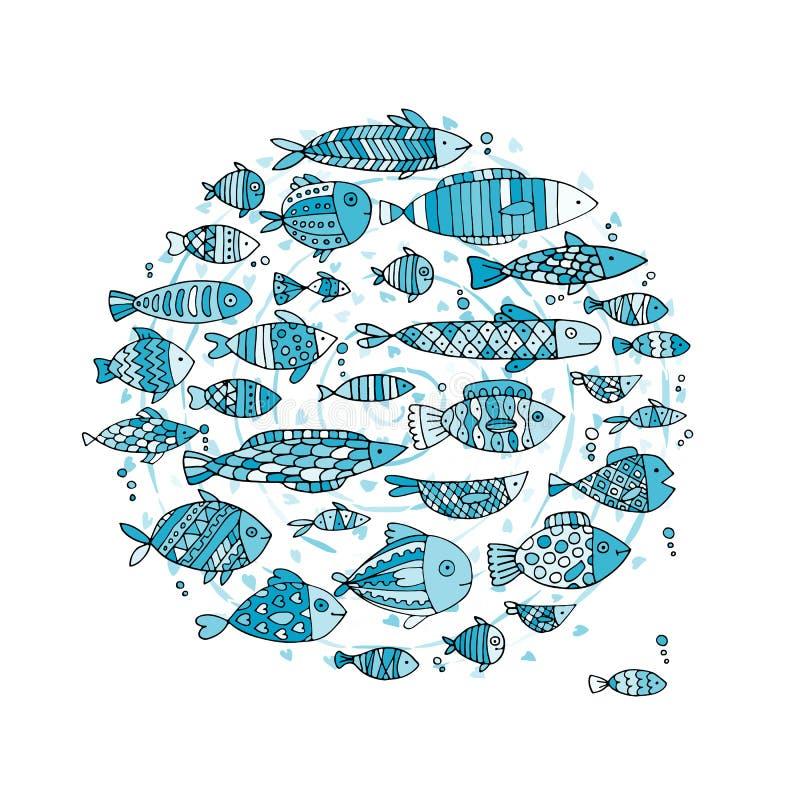 Raccolta del pesce di arte, schizzo per la vostra progettazione royalty illustrazione gratis
