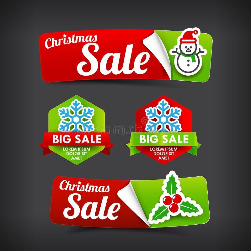 Raccolta 022 del promot variopinto dell'insegna dell'etichetta di web di Buon Natale illustrazione vettoriale