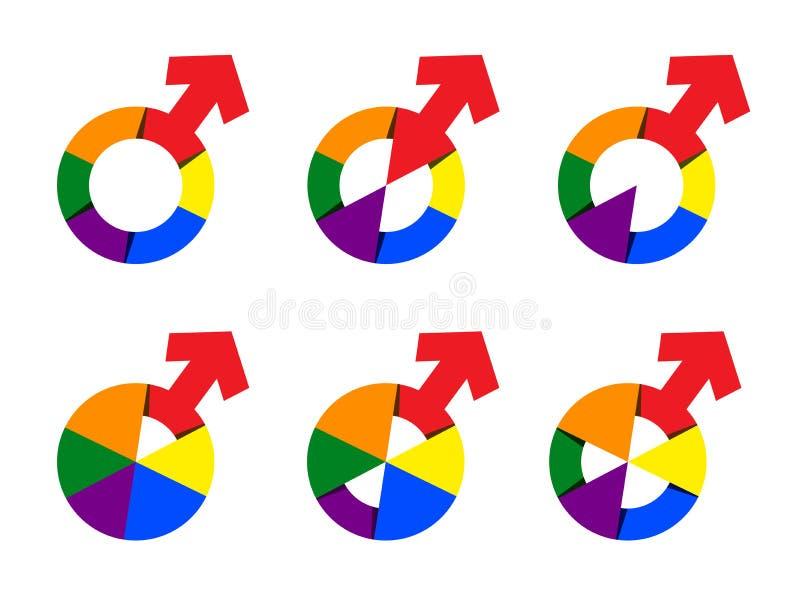 Raccolta del simbolo dell'uomo nell'illustrazione di colore dell'arcobaleno Il vettore ha messo il segno maschio di genere illustrazione vettoriale