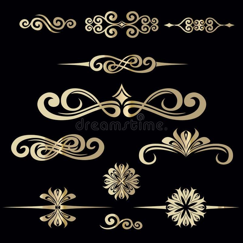 Raccolta del telaio d'annata disegnato a mano per la decorazione del testo in VE illustrazione vettoriale