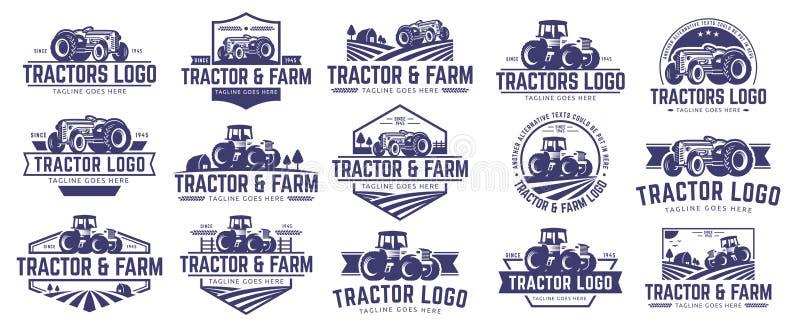 Raccolta del trattore e del modello di logo dell'azienda agricola, insieme di vettore, pacchetto di vettore illustrazione di stock