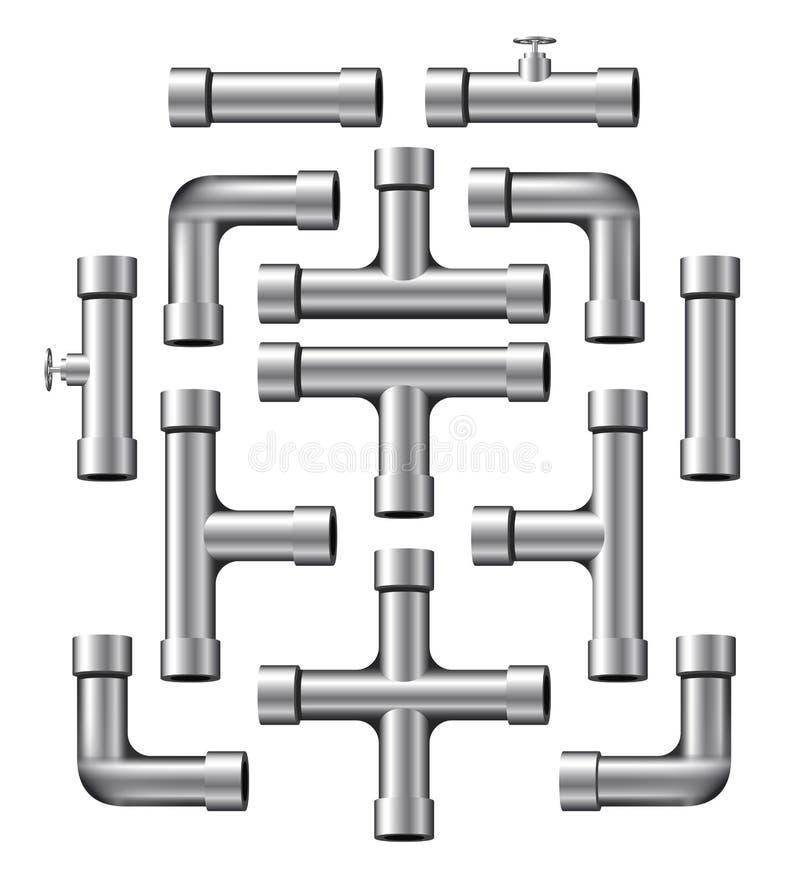 Raccolta del tubo di Chrome illustrazione di stock
