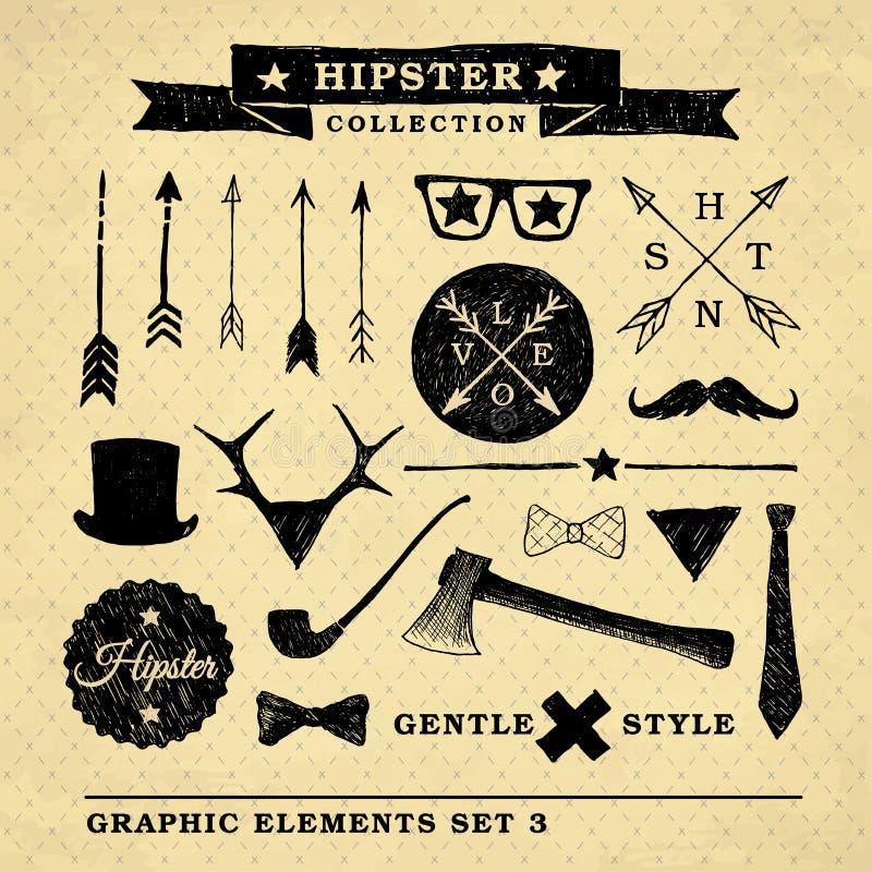 Raccolta delicata del grafico di stile dei pantaloni a vita bassa illustrazione di stock