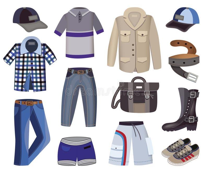Raccolta dell'abbigliamento degli uomini illustrazione vettoriale