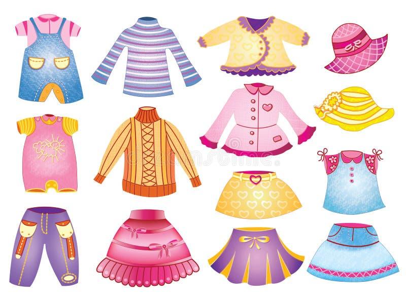 Raccolta dell'abbigliamento dei bambini illustrazione vettoriale