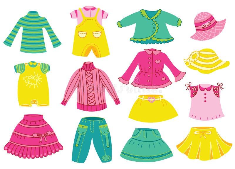 Raccolta dell'abbigliamento dei bambini royalty illustrazione gratis