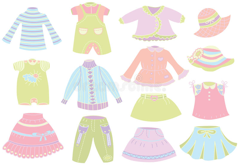 Raccolta dell'abbigliamento dei bambini di estate illustrazione di stock