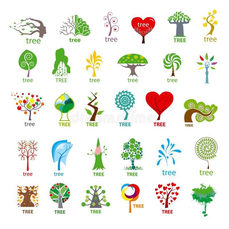 Raccolta dell'albero stilizzato del logos di vettore royalty illustrazione gratis