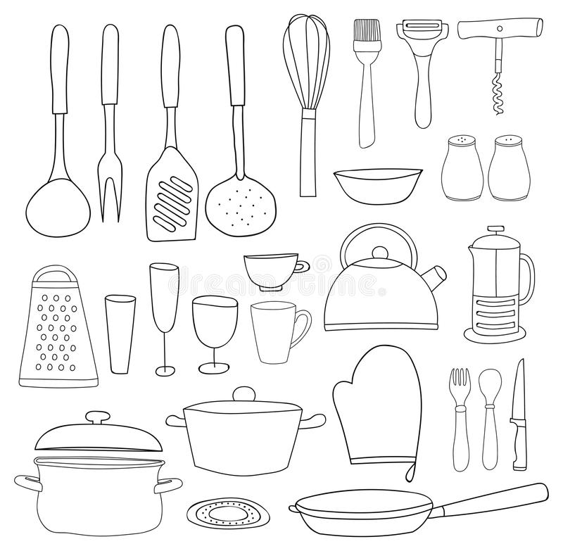 Raccolta dell'articolo da cucina Profilo nero, siluette su fondo bianco Tiraggio della mano illustrazione vettoriale