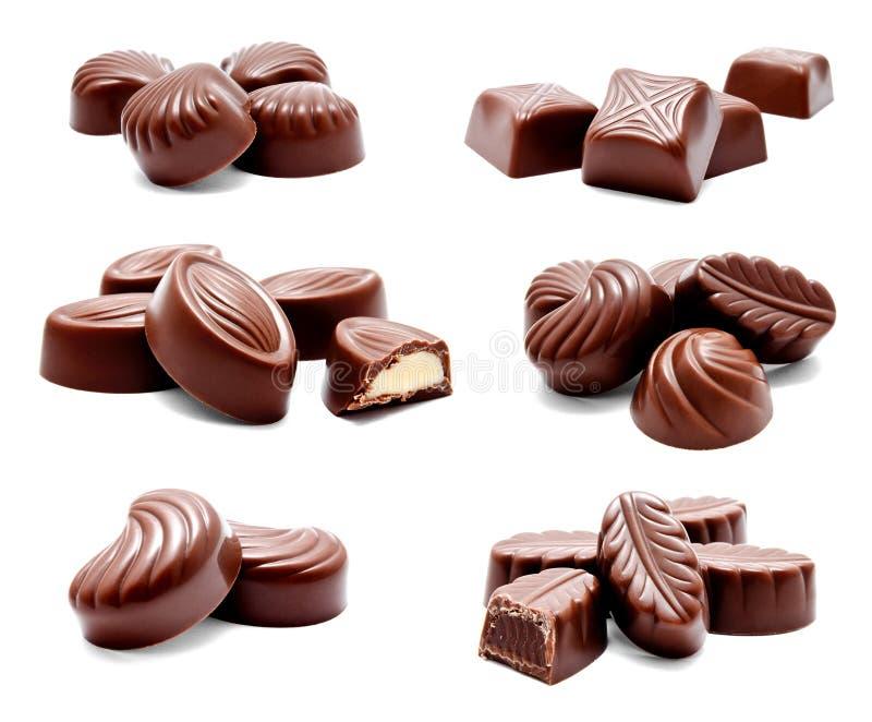 Raccolta dell'assortimento delle foto delle caramelle di cioccolato immagine stock libera da diritti