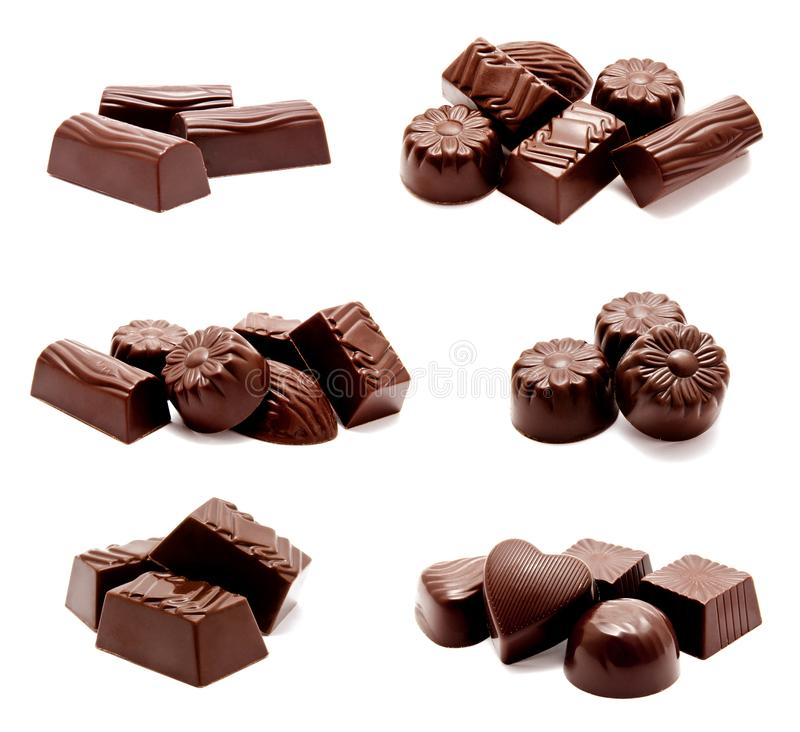 Raccolta dell'assortimento delle foto dell'isolante dei dolci delle caramelle di cioccolato fotografia stock libera da diritti