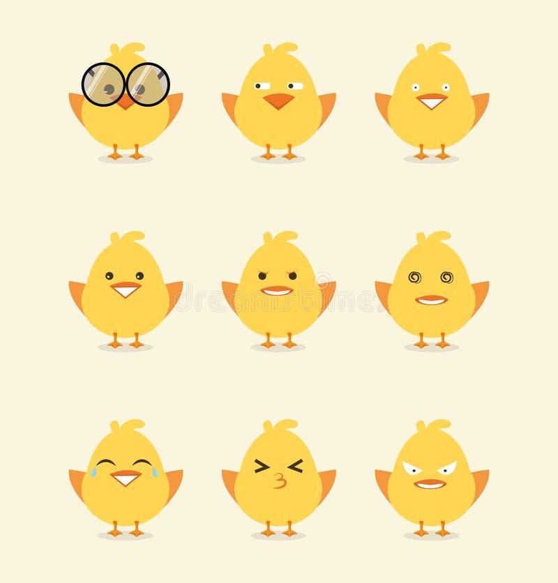 Raccolta dell'emoticon del pulcino del bambino illustrazione di stock