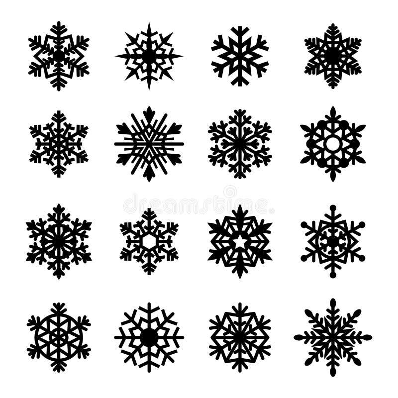 Raccolta dell'icona dei fiocchi di neve. Vettore royalty illustrazione gratis