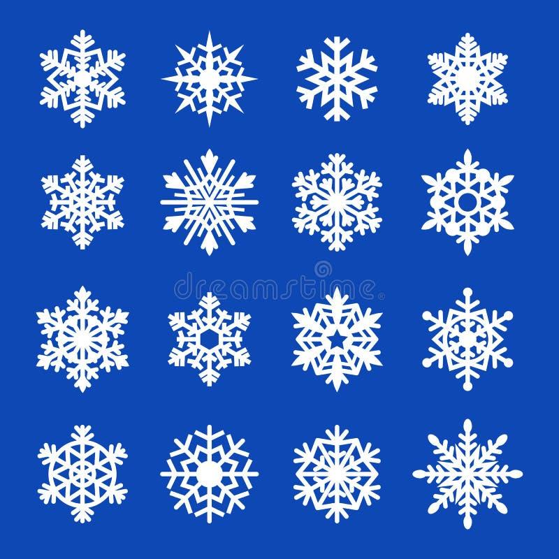 Raccolta dell'icona dei fiocchi di neve. Vettore illustrazione di stock