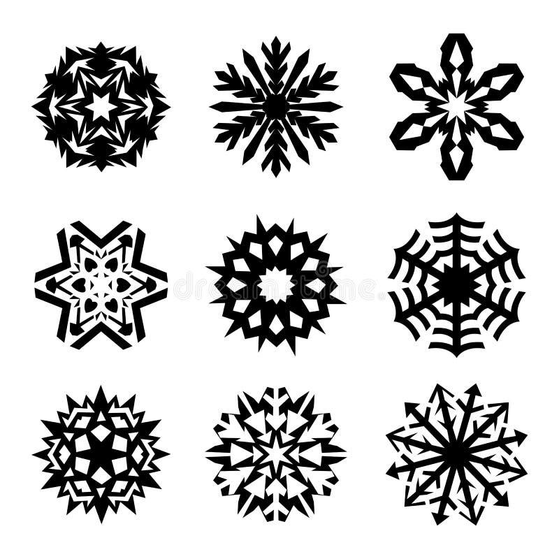 Raccolta dell'icona dei fiocchi di neve. Vettore illustrazione vettoriale