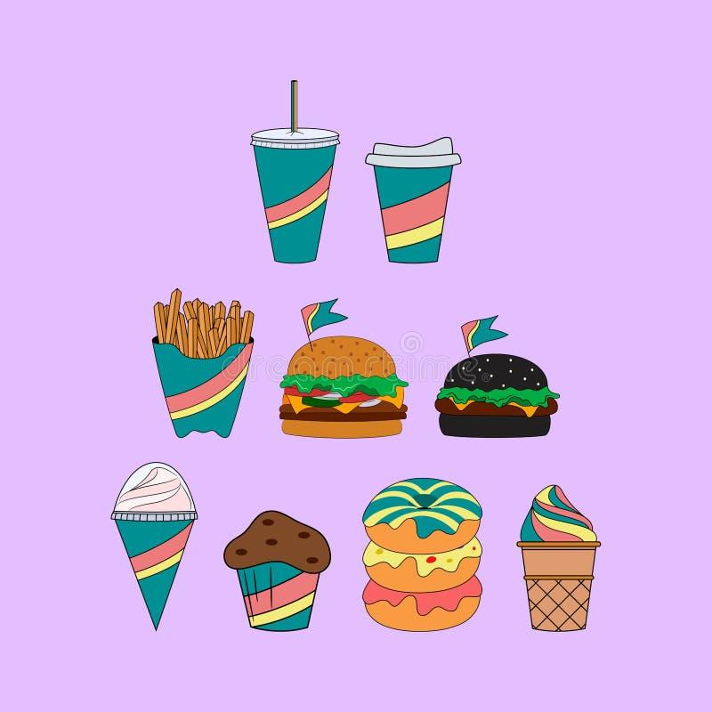 Raccolta dell'icona della bevanda e degli alimenti a rapida preparazione Progettazione per imballare illustrazione vettoriale