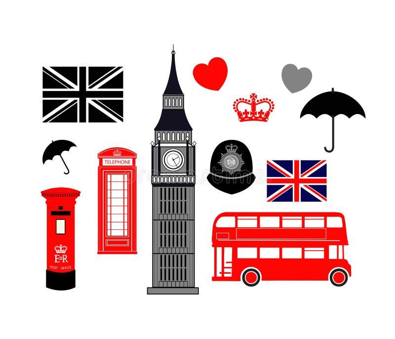 Raccolta dell'icona di Londra Inghilterra illustrazione di stock