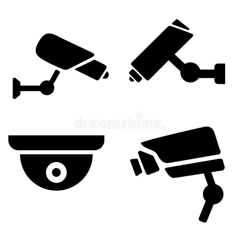 Raccolta dell'icona moderna del CCTV siluetta dell'illustrazione delle videosorveglianze Icone di sorveglianza messe illustrazione di stock
