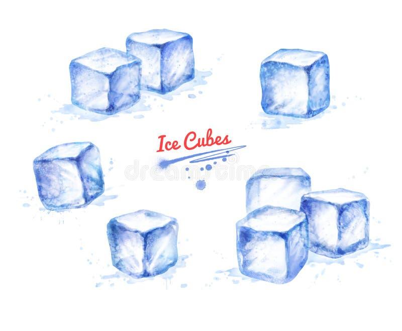 Raccolta dell'illustrazione dell'acquerello dei cubetti di ghiaccio illustrazione di stock