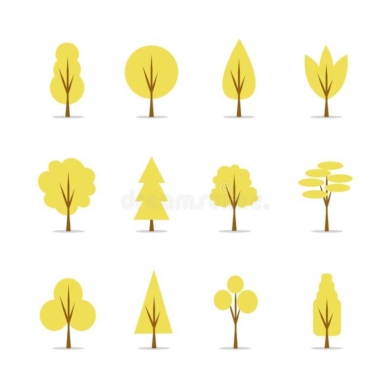 Raccolta dell'illustrazione degli alberi di autunno, elementi piani naturali di progettazione illustrazione di stock