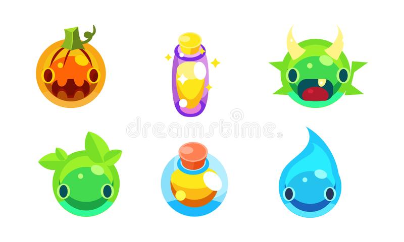 Raccolta dell'illustrazione variopinta di vettore degli elementi della gelatina di fantasia dell'interfaccia utente del gioco dei royalty illustrazione gratis