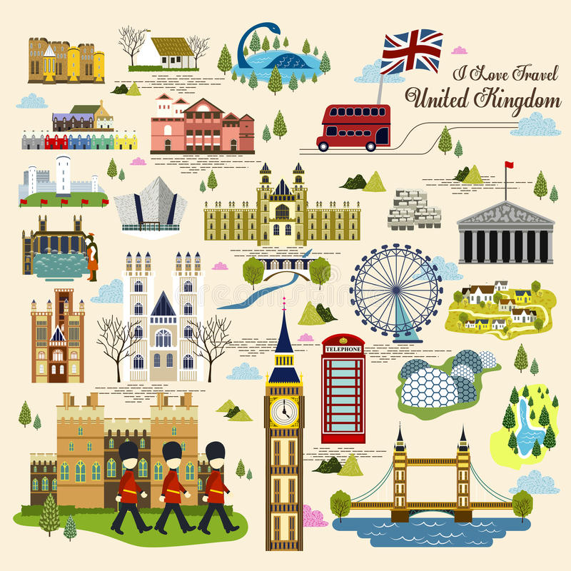 Raccolta dell'impressione del Regno Unito illustrazione di stock