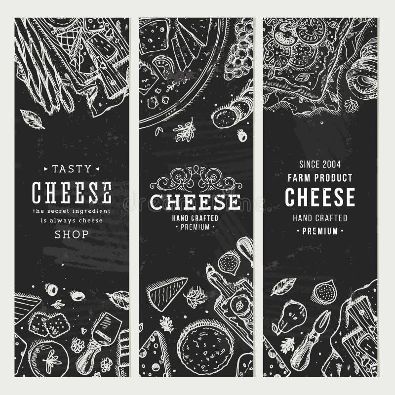 Raccolta dell'insegna del formaggio Fondo della tavola dell'antipasto Illustrazione di vettore illustrazione di stock