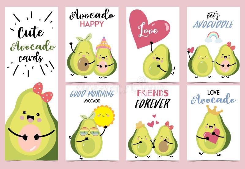 Raccolta dell'insieme dell'avocado con cuore, l'arcobaleno, il sole, il corno e la corona royalty illustrazione gratis