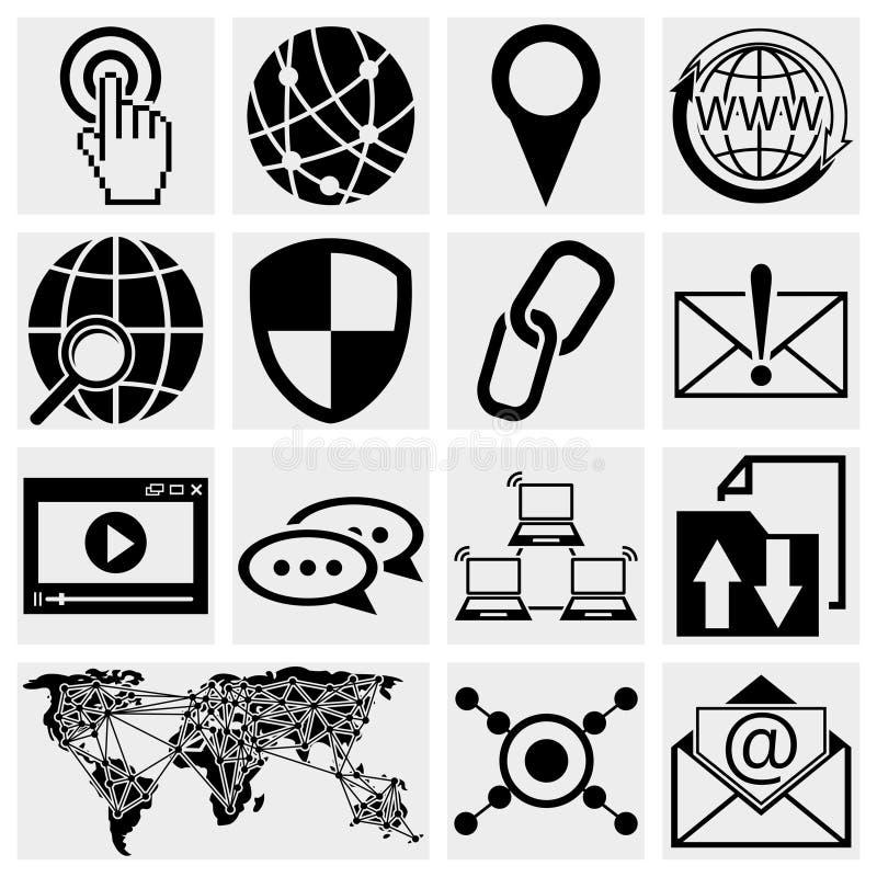 Insieme dell'icona di vettore del Internet illustrazione di stock
