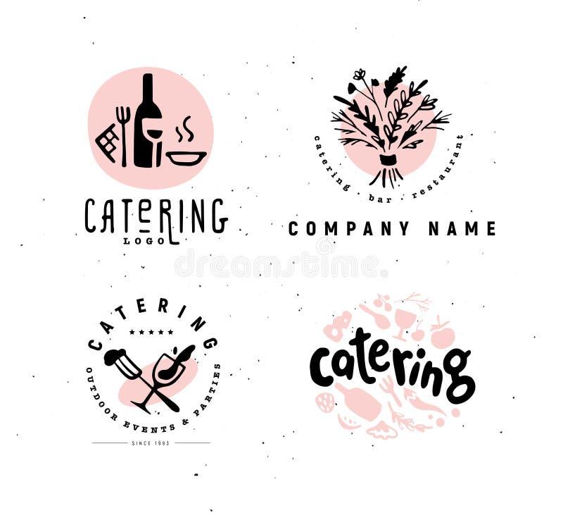 Raccolta dell'insieme di logo di approvvigionamento di vettore e della società del ristorante isolato su fondo bianco illustrazione vettoriale