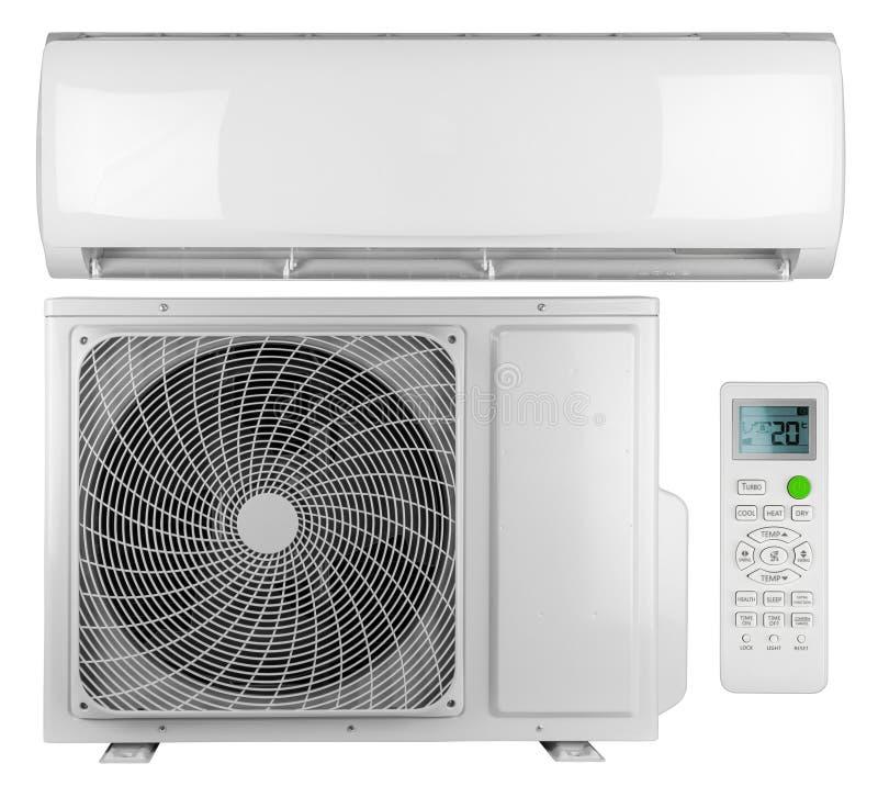 Raccolta dell'insieme sistema spaccato della pompa di calore dell'invertitore di CA del condizionatore d'aria di mini con l'unità fotografie stock libere da diritti