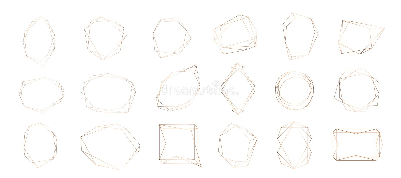 Raccolta dell'oro del telaio geometrico Elemento decorativo per il logo, marcante a caldo, carta, invito illustrazione di stock