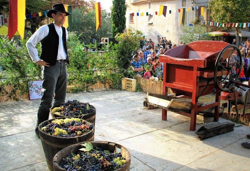 Raccolta dell'uva: festival del raccolto dell'uva nel vil chusclan immagine stock libera da diritti