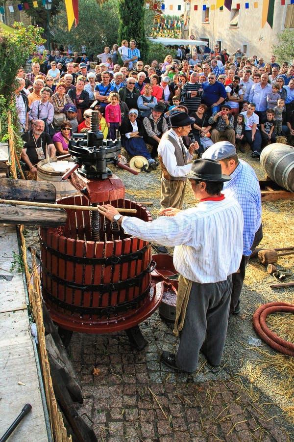 Raccolta dell'uva: festival del raccolto dell'uva nel vil chusclan immagine stock
