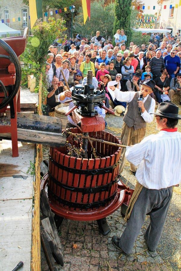 Raccolta dell'uva: festival del raccolto dell'uva nel vil chusclan fotografia stock libera da diritti