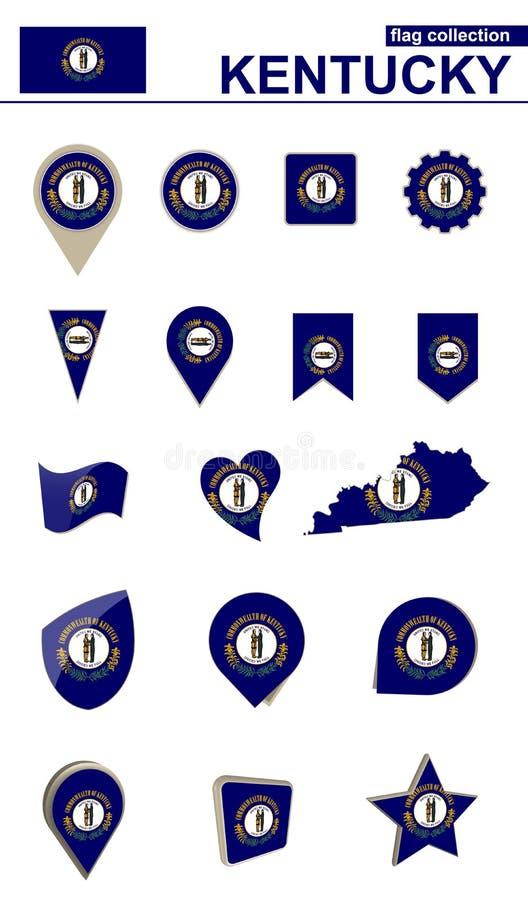 Raccolta della bandiera del Kentucky Grande insieme per progettazione illustrazione vettoriale