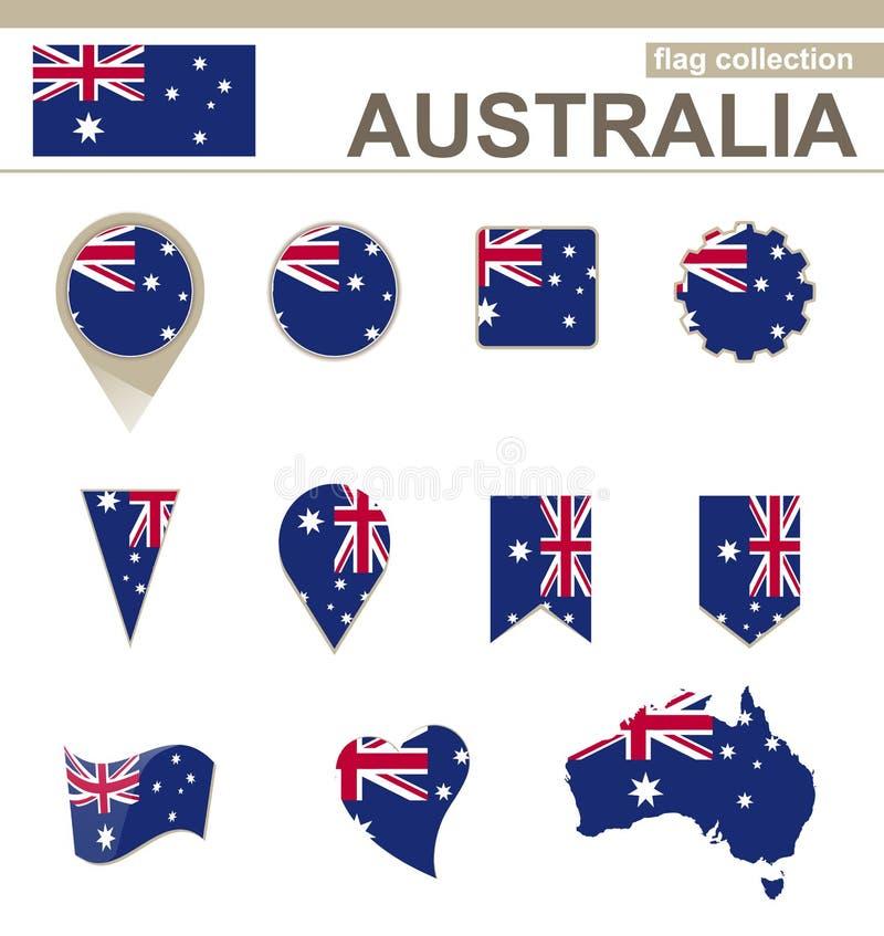 Raccolta della bandiera dell'Australia royalty illustrazione gratis