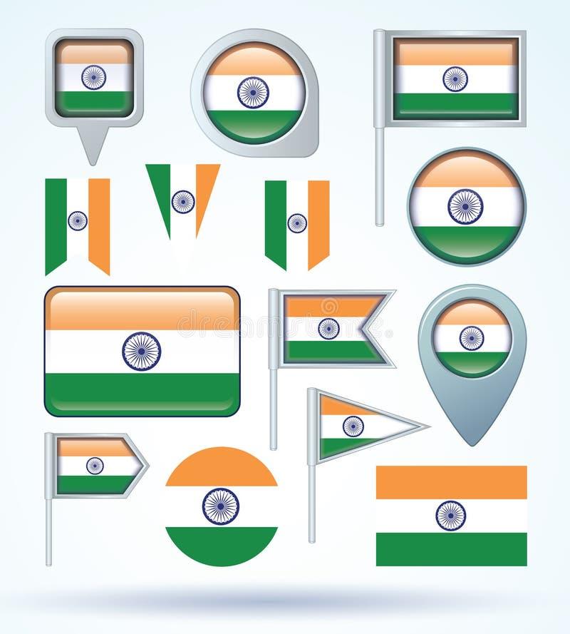 Raccolta della bandiera dell'India, illustrazione di vettore illustrazione di stock