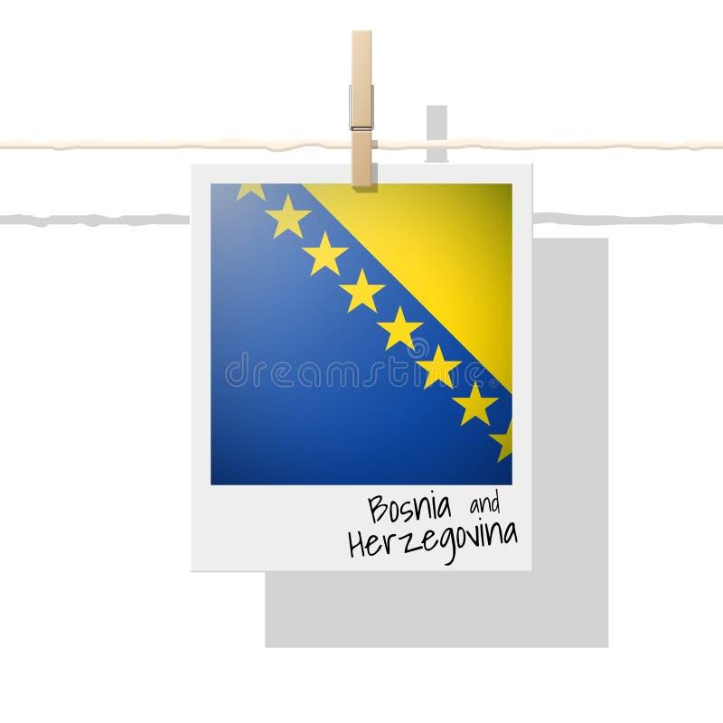 Raccolta della bandiera di paese europeo con la foto della bandiera della Bosnia-Erzegovina illustrazione vettoriale