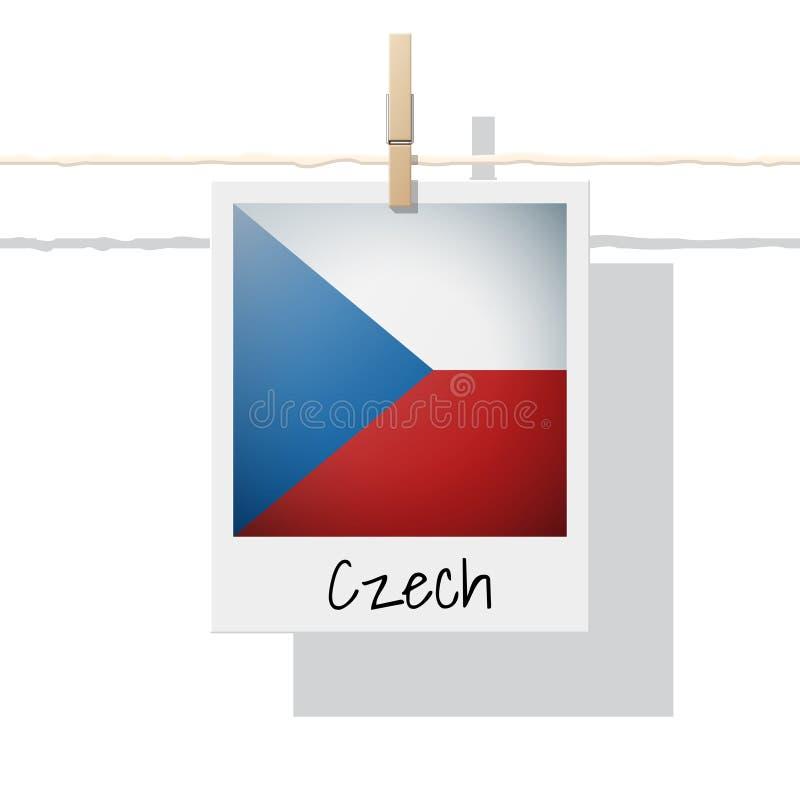Raccolta della bandiera di paese europeo con la foto della bandiera ceca illustrazione vettoriale