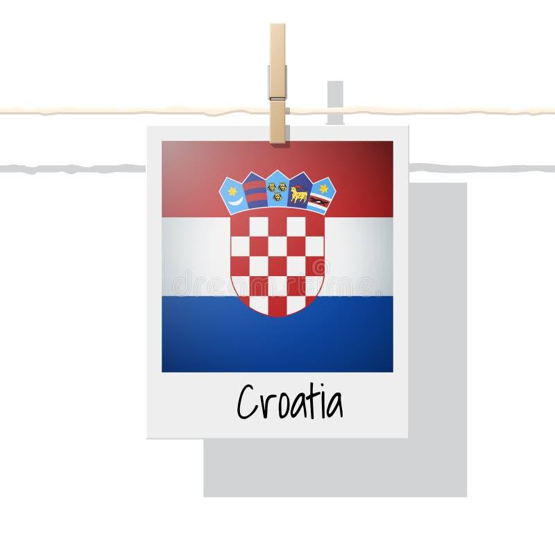 Raccolta della bandiera di paese europeo con la foto della bandiera della Croazia illustrazione di stock