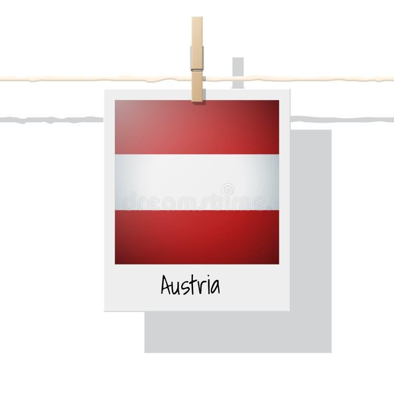 Raccolta della bandiera di paese europeo con la foto della bandiera dell'Austria illustrazione di stock