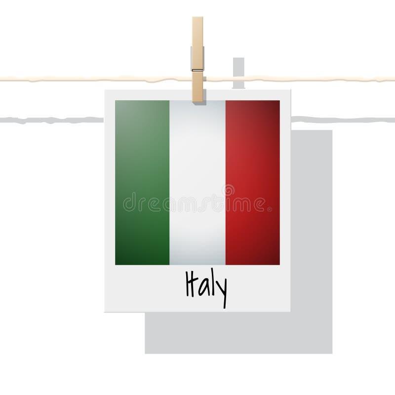 Raccolta della bandiera di paese europeo con la foto della bandiera dell'Italia illustrazione di stock