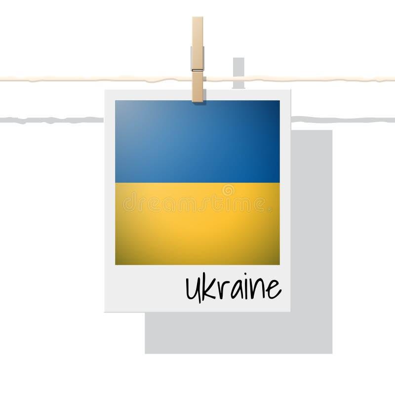 Raccolta della bandiera di paese europeo con la foto della bandiera dell'Ucraina illustrazione vettoriale