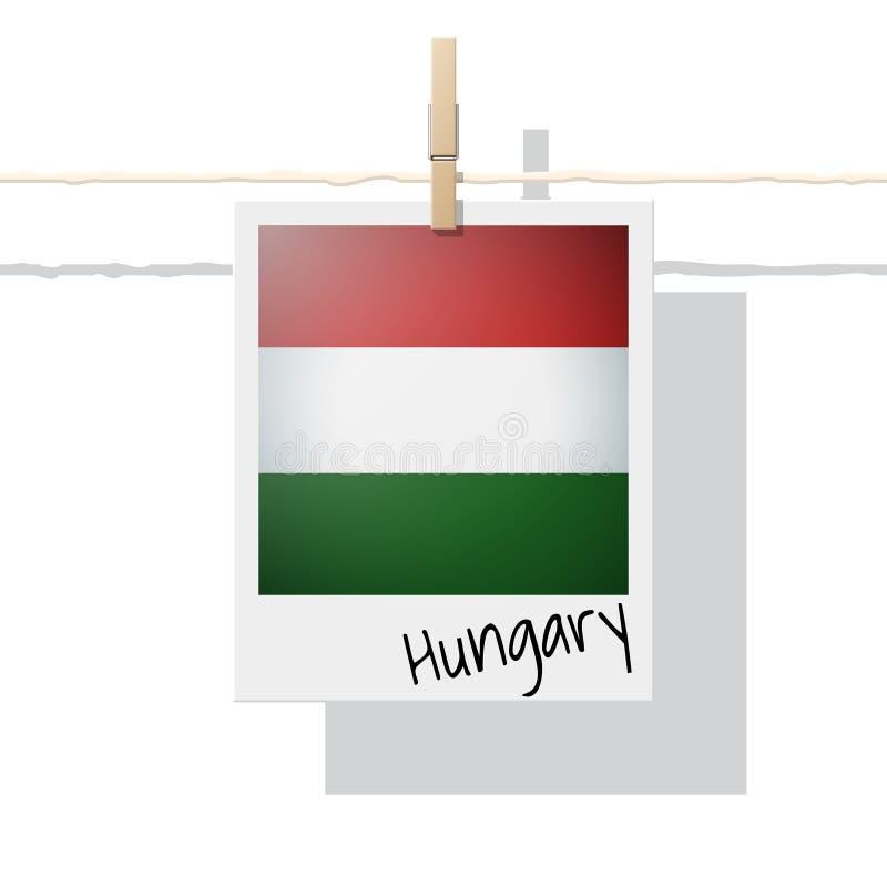 Raccolta della bandiera di paese europeo con la foto della bandiera dell'Ungheria illustrazione vettoriale