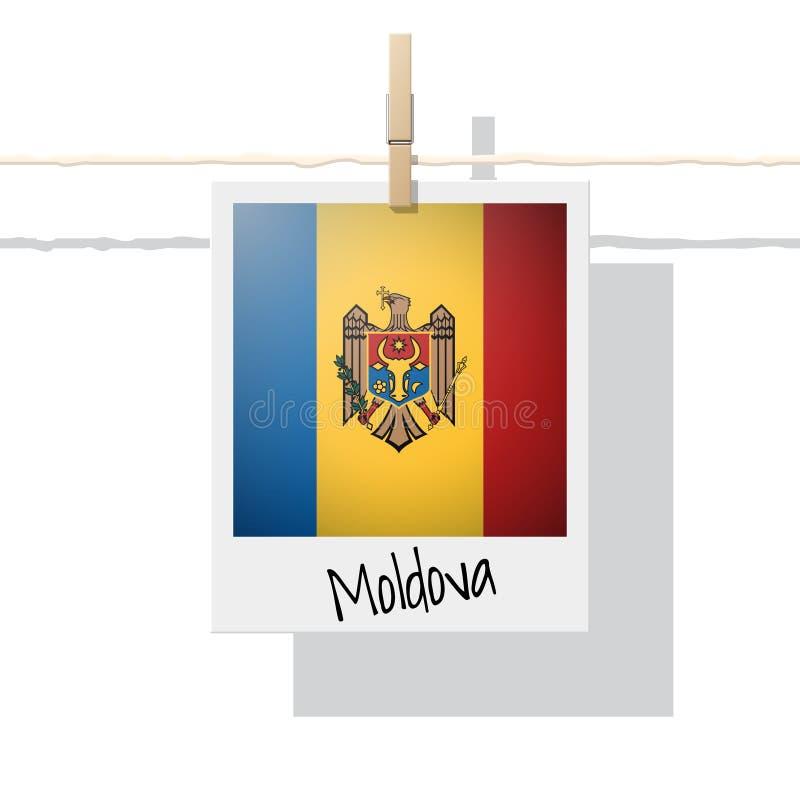 Raccolta della bandiera di paese europeo con la foto della bandiera della Moldavia royalty illustrazione gratis