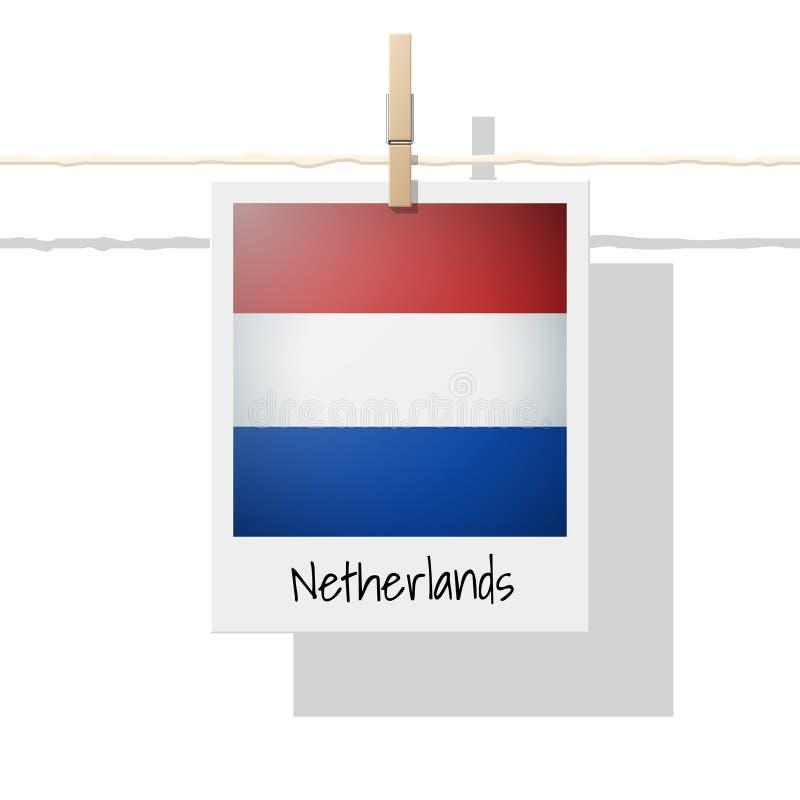 Raccolta della bandiera di paese europeo con la foto della bandiera olandese illustrazione di stock
