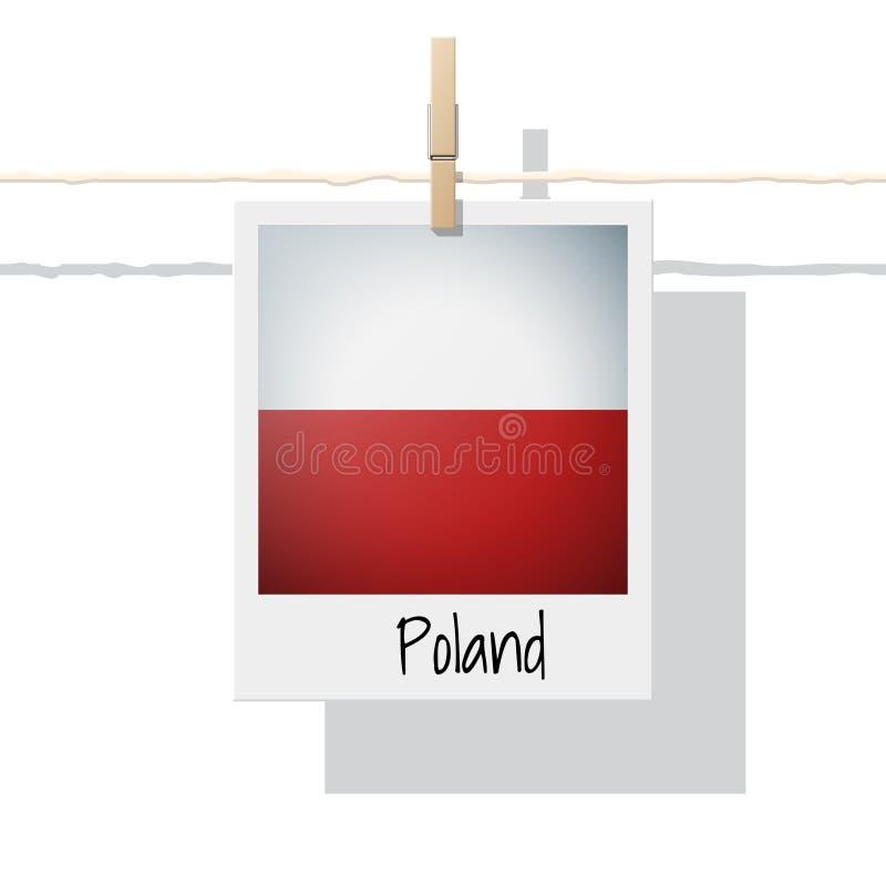 Raccolta della bandiera di paese europeo con la foto della bandiera della Polonia illustrazione di stock