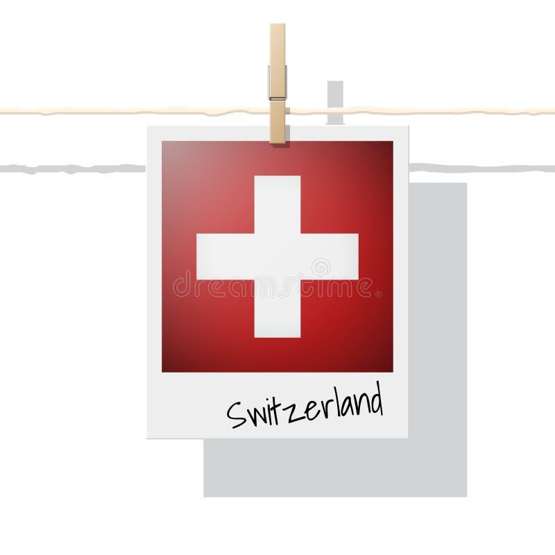 Raccolta della bandiera di paese europeo con la foto della bandiera della Svizzera royalty illustrazione gratis